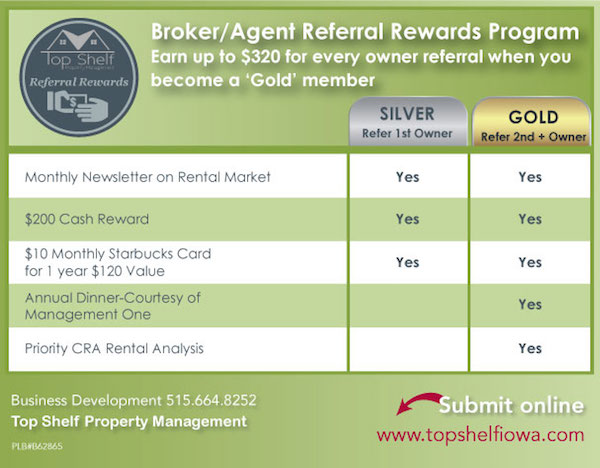 Top Shelf Property Management Agents-Referral-Chart